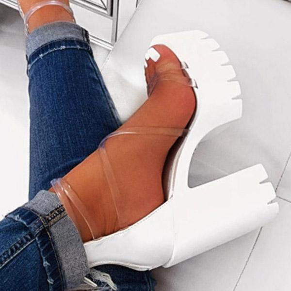Kovogue Chunky Heel Zipper Open Toe Strappy See-Through Sandals