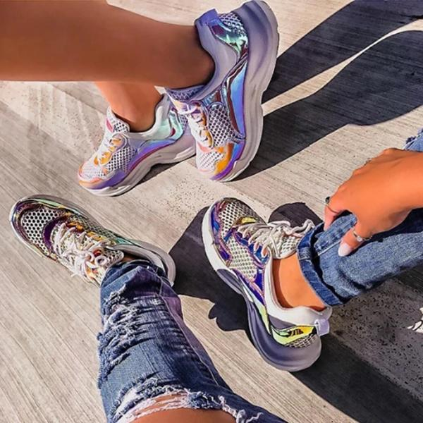 kovogue Purple Hologram Faux Patent Leather Sneakers