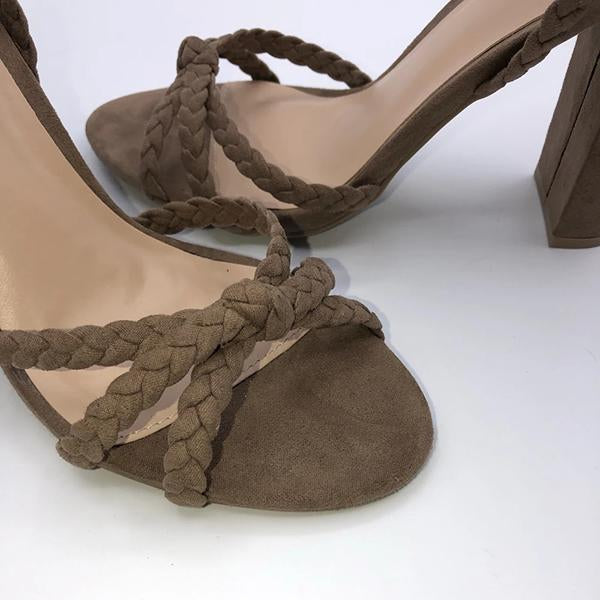 kovogue Suede Lace-Up Braided Heels
