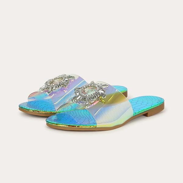 kovogue Embellished Transparent Vamp Slide Slippers