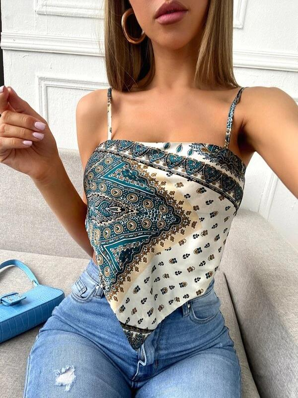 Kovogue Scarf Print Tie Back Satin Cami Bandana Top