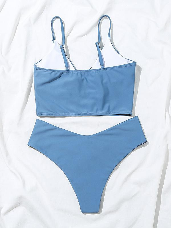 Kovogue Sexy Solid Color V-Neck Bikini Split Crossover Swimsuit