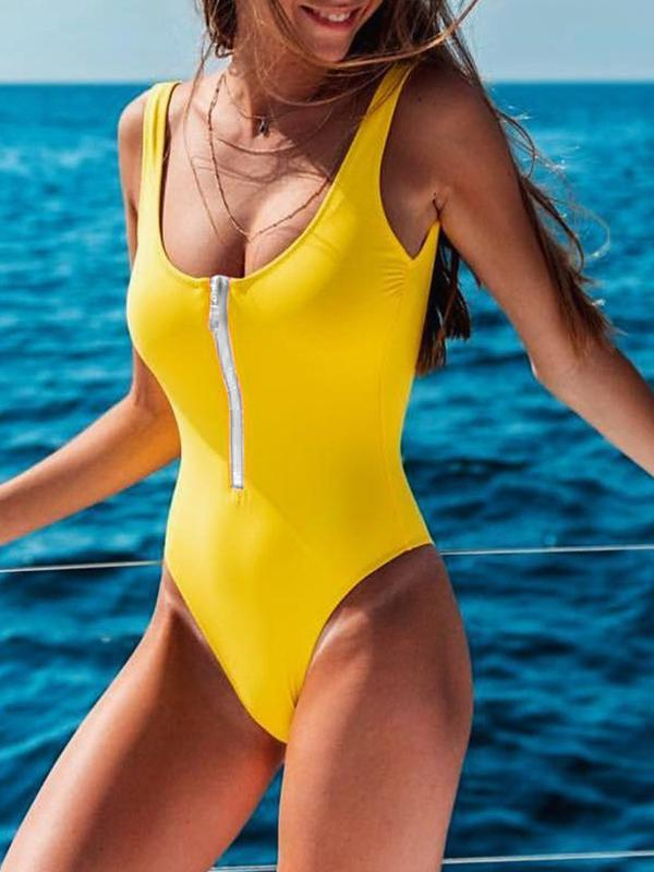 Kovogue Zip Stripe One Piece Bikini Swimsuit