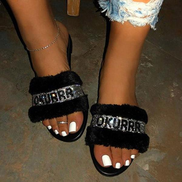 kovogue Flat With Slip-On Rhinestone Flip Flop Letter Pvc Slippers