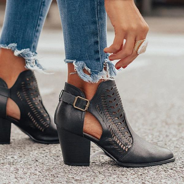 kovogue Faux Leather Buckled Ankle Strap Boots