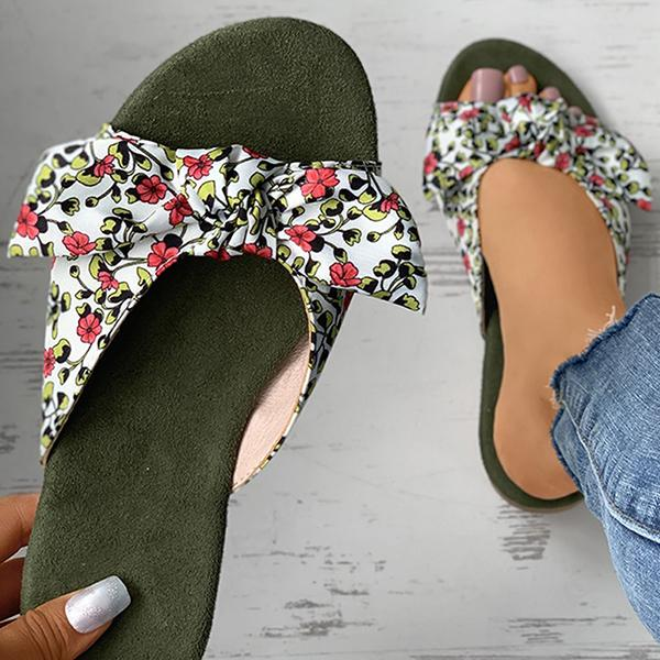 kovogue Ditsy Floral Print Striped Colorblock Bowknot Slippers