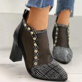 kovogue Houndstooth Rivet Sheer Mesh Chunky Heels