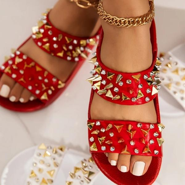 kovogue Gold-Tone Studded Hardware Sandals