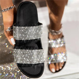 kovogue Women Shining Rhinestone Rainbow Open Toe Slip On Platform Slippers