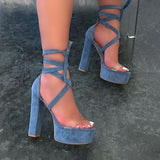 kovogue Sexy Strappy Platform Open Toe High Heels