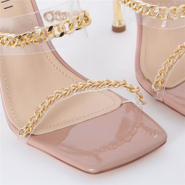 kovogue Shiny Chain Stiletto Heels