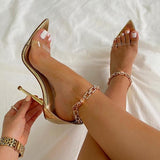 kovogue Rhinestone Chain Pointed Stiletto Heels
