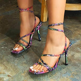 kovogue Strap Up Square Toe High Heels