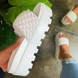 kovogue Summer Style Platform Woven Sandals Silppers