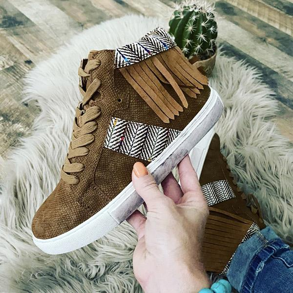 kovogue Canvas Fringed Casual Sports Boots