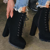 kovogue Lace-Up Platform Casual All-Inclusive Boots
