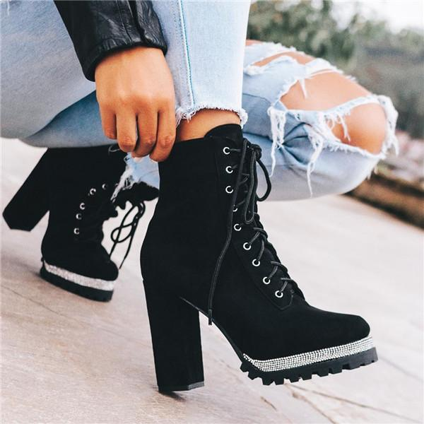 kovogue Platform Bright Diamond Detail Chunky Heel Boots