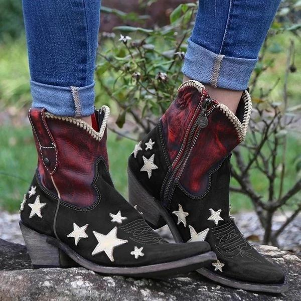 kovogue Women'S Vintage Pointed Toe Star Short Boots