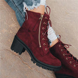 kovogue Side Zipper Lace-Up Suede Ankle Boots