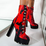 kovogue Red Camouflage Print Boots