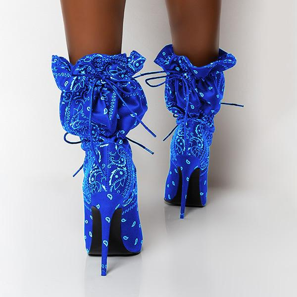 kovogue Square Print Stiletto Boots