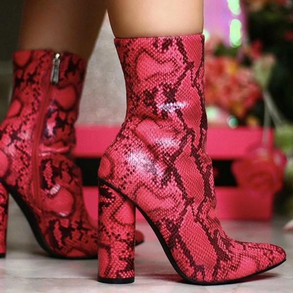 kovogue Pink Faux Snakeskin Pointy Toe Boots