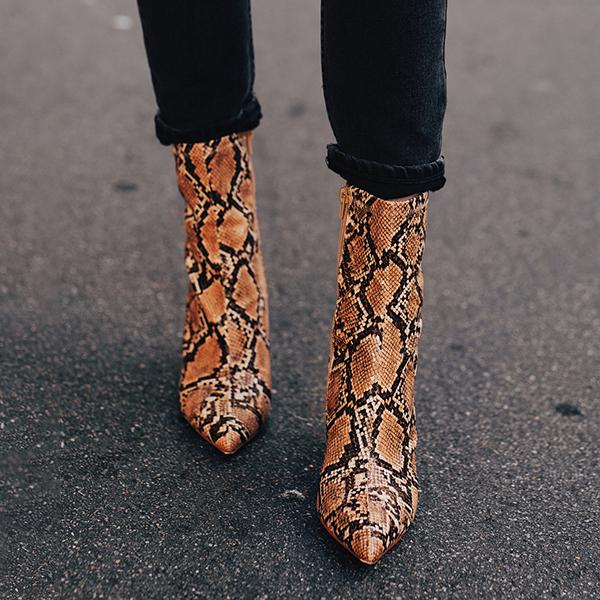 kovogue Snake Print One Arrow Boots