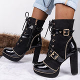 kovogue Women Ankle Boots Cool Fashion Buckle Strap Leather Platform High Heels Boots