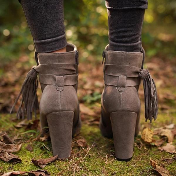 kovogue Fringed High Heel Nude Boots