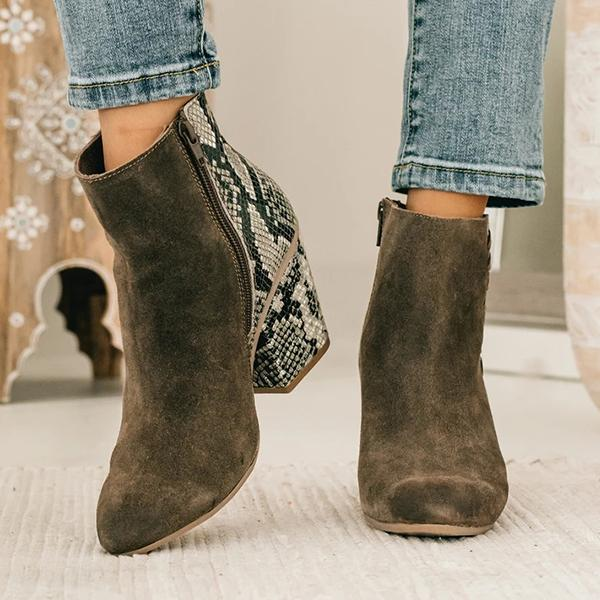 kovogue Snakeskin Suede Panel Wedges Boots
