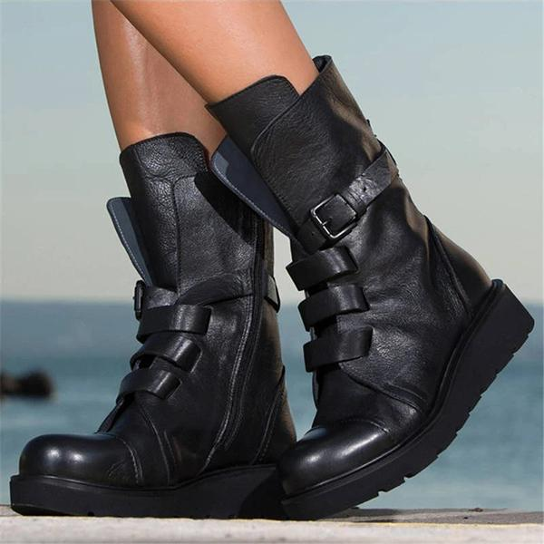 kovogue Women Fashion Coolest Belt Buckle Zipper Platform Martin Boots