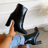 kovogue Faux Leather Zipper Flat-Toe Boots