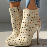 kovogue Suede Studded Pointed Toe Thin Heeled Boots