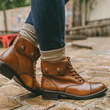 kovogue Faux Leather Handsome Strappy Cowboy Boots