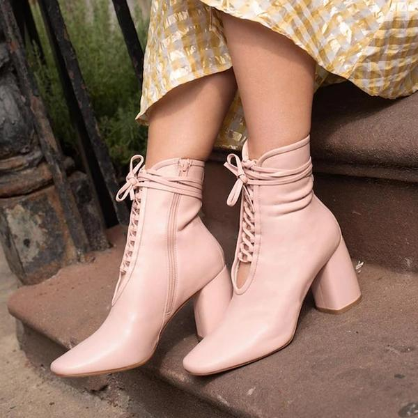 kovogue Lace-Up Hollow Fashion Thick Heel Boots
