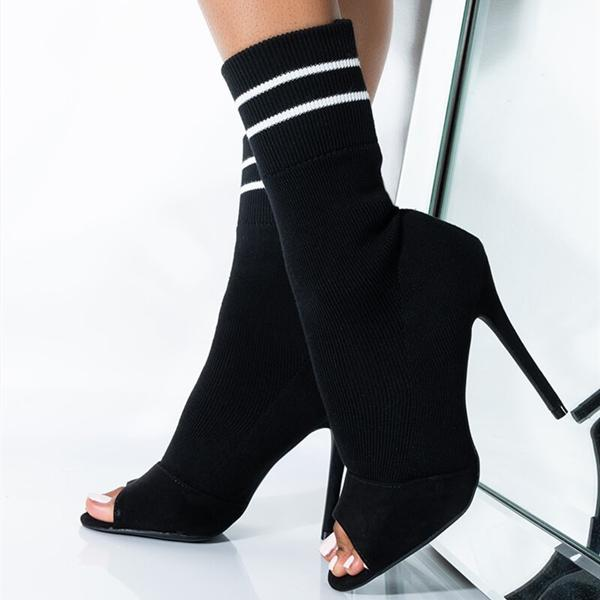 kovogue Sock-Style Open Toe Stiletto Boots