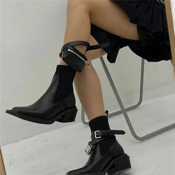 kovogue Square Toe Women Straps Pocket Stretch Sock Boots
