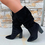 kovogue Pleated Suede Mid Boots