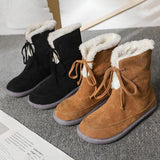kovogue Women Round Toe Lace Up Lining Faux Fur Keep Warm Snow Boots