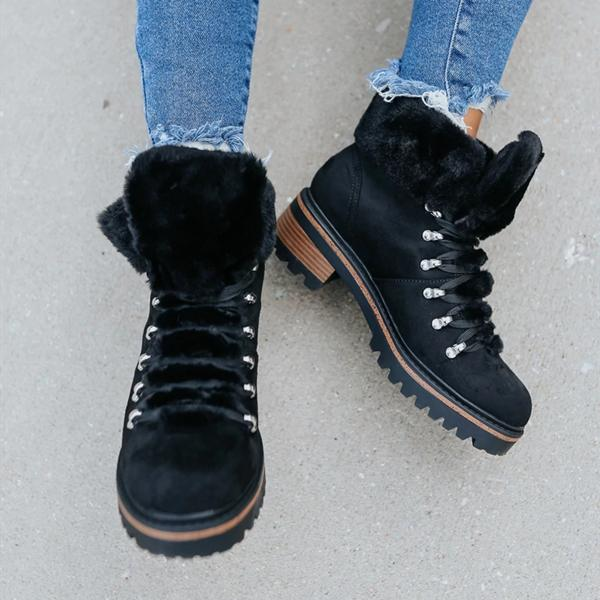 kovogue Lace Up Faux Fur Boots