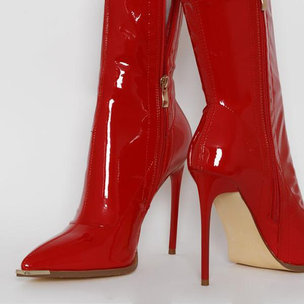kovogue Sexy Bright Leather Party High Heel Boots