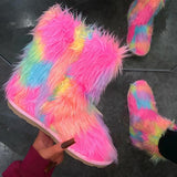 kovogue Multicolor Plush Cute Snow Boots