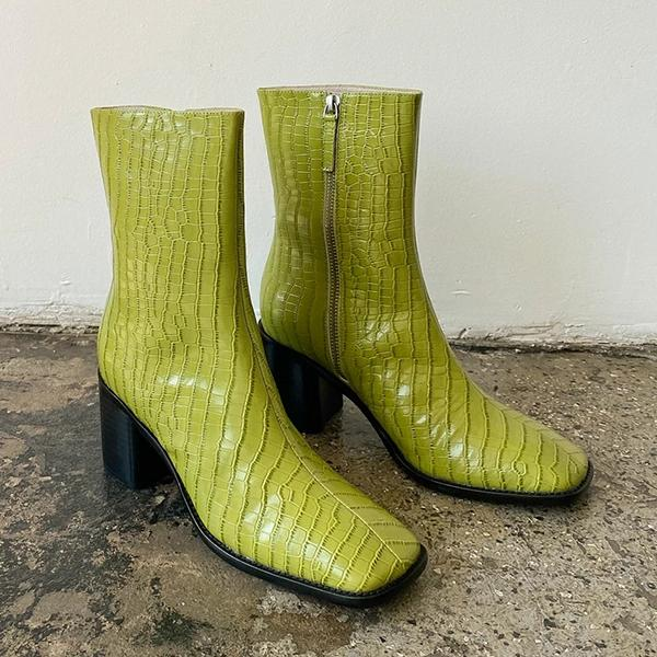 kovogue Square-Toed Snake Print Green Boots
