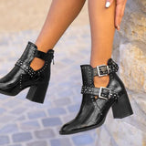 kovogue Adjustable Small Rivet Thick Heel Boots