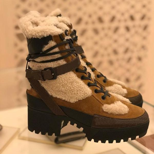 kovogue Thick-Soled Lace-Up Fur Fashion Boots