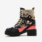 kovogue Sequined Platform Square Heels Belt Buckle Motorcycles Boots