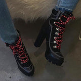 kovogue Thick-Soled Thick Heel Black Striped Lace-Up Boots