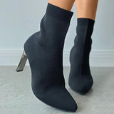 kovogue Pointed Toe Plain Heeled Sock Boots