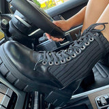 kovogue Black Platform Sole Knitted Detail Lace-Up Boots