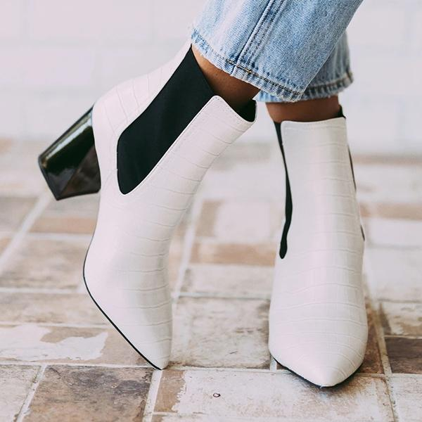 kovogue Chelsea Pattern Thick Heel Boots